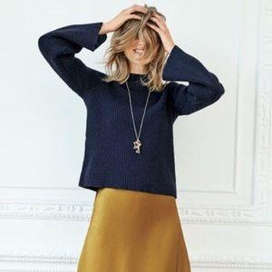 BODEN Leah Wool & Cotton Blend Shaker Sweater Navy